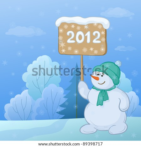 Christmas cartoon, snowmen boy with the poster with the inscription 2012 in the winter forest