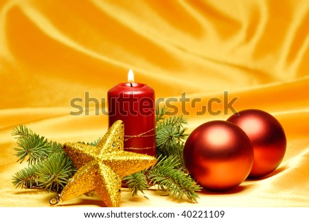 Christmas Celebration-Christmas ornament on silky background.
