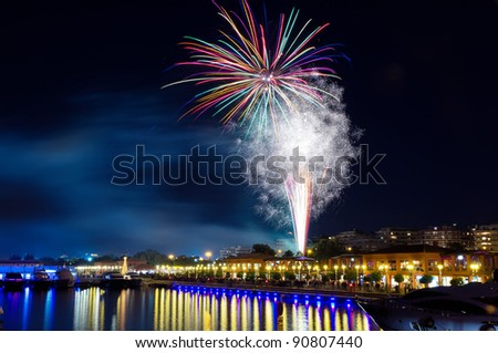 Christmas celebration fireworks at Floisvos marina, Piraeus, Greece
