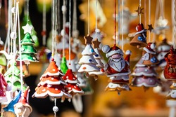 Christmas Ceramics Decorations on Christmas Market at Riga, Latvia - image