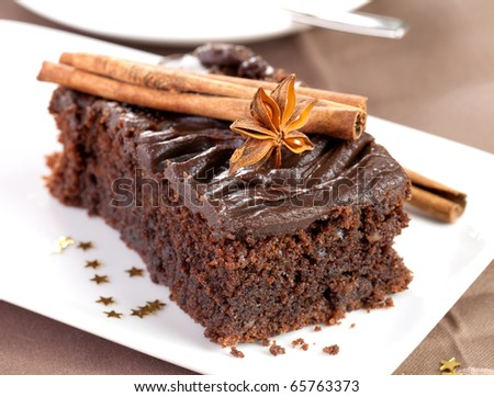 christmas chocolate cake with decoration