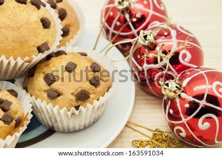 Christmas chocolate muffins with chocolate chips #163591034