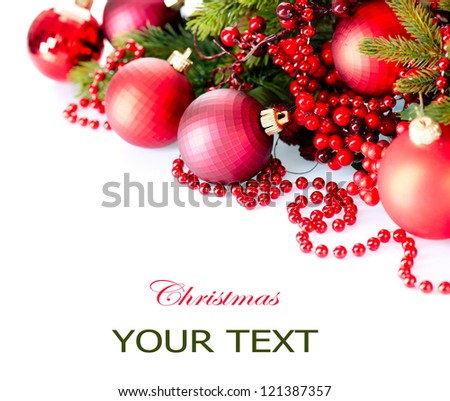 Christmas. Christmas and New Year Baubles and Decorations isolated on White Background.Holiday Border Design Composition. Red Colour