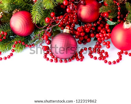 Christmas. Christmas and New Year Baubles and Decorations isolated on White Background.Holiday Border Design Composition. Red Color