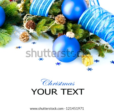 Christmas. Christmas and New Year Blue Bauble And Decorations border art Design. Isolated on White Background