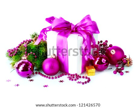Christmas. Christmas and New Year Gift Box and Decorations isolated on White Background.Holiday Design Composition. Violet Color