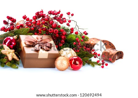 Christmas. Christmas Decoration and Gift Box Holiday Decorations Isolated on White Background