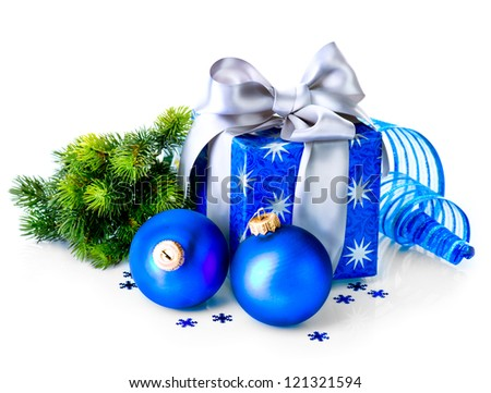 Christmas. Christmas Gift Box and Decorations isolated on White Background. Design Composition. Blue Color