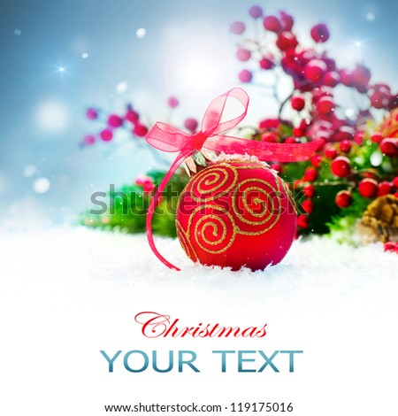 Christmas. Christmas Holiday Background with Red Bauble, Decorations, Snow and Snowflakes. New Year Art Design