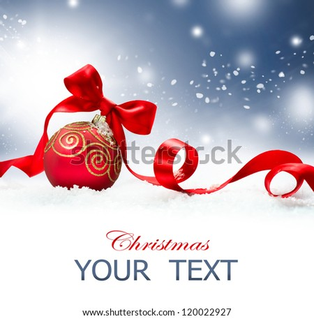 Christmas. Christmas Holiday Background with Red Bauble, Ribbon, Snow and Snowflakes