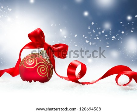 Christmas. Christmas Holiday Background with Red Bauble, Ribbon, Snow and Snowflakes. Christmas Scene