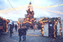 Christmas city landscape background blur sale