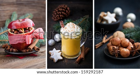 christmas collage with eggnog and baked apple