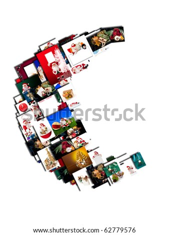 Christmas Collage with photos with Santa Claus on a white background
