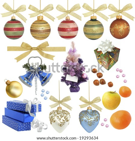 Christmas collection / isolated objects  /  XXL size Various objects related to Christmas isolated on white without shadow.  Ideal as background. #19293634