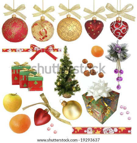 Christmas collection / isolated objects  /  XXL size Various objects related to Christmas isolated on white without shadow.  Ideal as background.