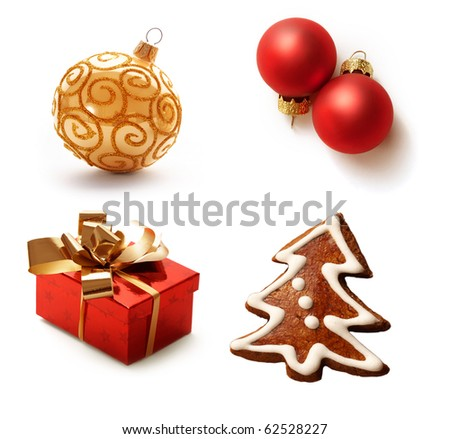 christmas collection isolated on white background