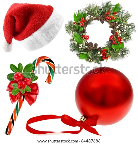 Christmas Collection set of  (santa's hat,wreath, candy cane, red ball) isolated on white background - stock photo