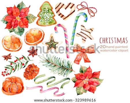Christmas collection:sweets,poinsettia,anise,orange,pine cone,ribbons,christmas cakes.You can create own patterns,greeting cards,invitations,party design,decorate blog,anything on the theme Christmas