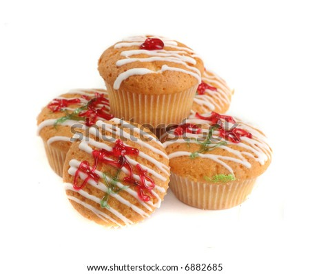 Christmas colllor muffins over white