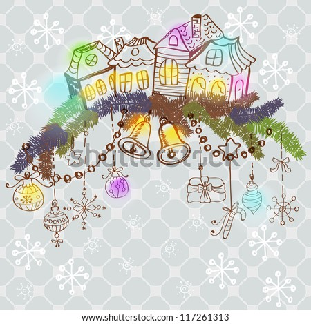 christmas color card for xmas design with fur tree, houses and decorations