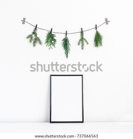 Christmas composition. Black frame and christmas tree branches on white background. Front view, mock up, copy space, square.