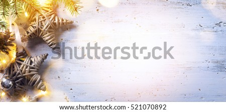 Christmas composition; Christmas decoration and fir tree branches, holidays light on white wooden background;  Flat lay, top view #521070892