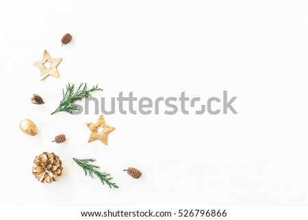 Christmas composition. Christmas decoration, cypress branches, pine cones. Flat lay, top view