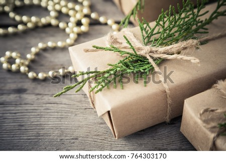 Christmas composition. Christmas gifts with copy space.