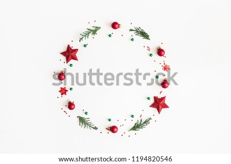 Christmas composition. Christmas wreath on white background. Flat lay, top view, copy space #1194820546