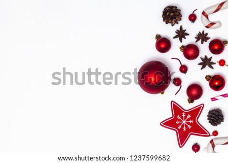 Christmas composition isolated on white background. Red glass balls and toys. New Year flat lay, top view. #1237599682