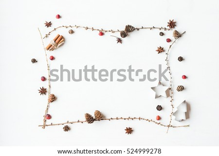 Christmas composition. Larch branches, cinnamon sticks, anise star, dried cranberry. Christmas frame. Flat lay, top view