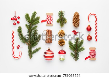 Christmas composition made of christmas decoration on white background. Flat lay, top view. #759033724
