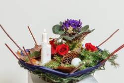 Christmas composition of fresh flowers close up