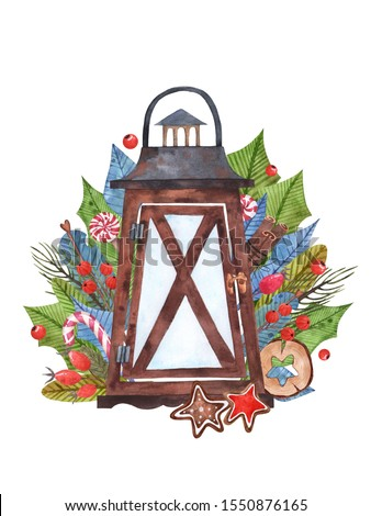 Christmas composition of watercolor elements with a lantern, berries, sweets and different leaves. Suitable for cards, holiday design, invitations and design.