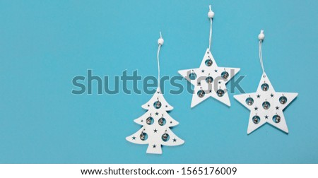 Christmas  composition on blue background. Holiday concept. Flat lay, copy space. with copy space