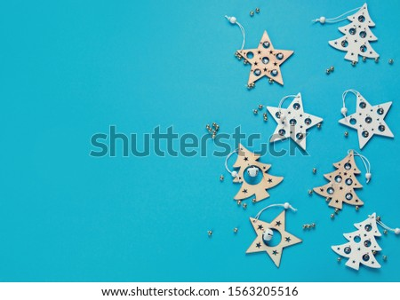 Christmas  composition on colored background. Holiday concept. Flat lay, copy space. with copy space