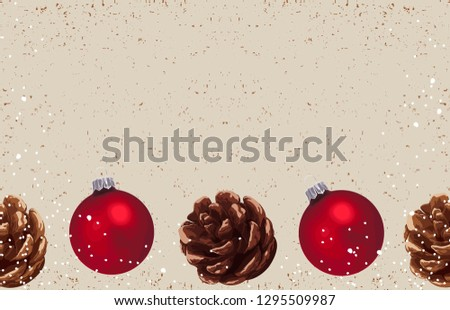 Christmas composition. Printable Christmas festive border layout. Christmas decorations for background design with copy space great for creating greeting cards, invitations, and more. #1295509987