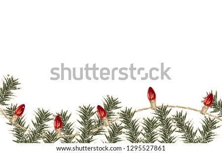 Christmas composition. Printable Christmas festive border layout. Christmas decorations for background design with copy space great for creating greeting cards, invitations, and more. #1295527861