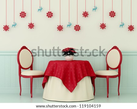 Christmas composition with bright red chairs, a table covered with a red cloth and Christmas decorations