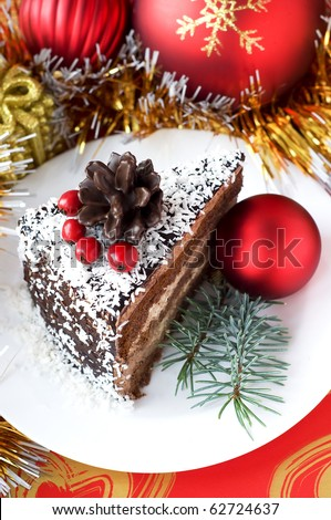 Christmas composition with cake