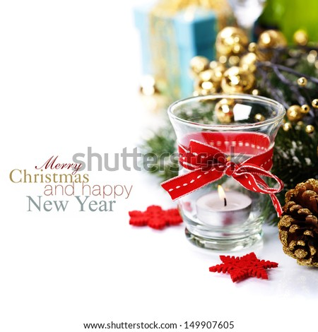 Christmas composition with candle and decorations (with easy removable sample text)