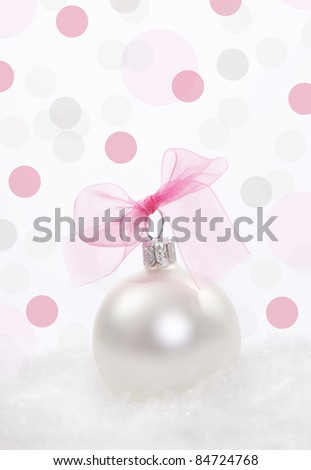 Christmas composition with  christmas decoration over polka dots background