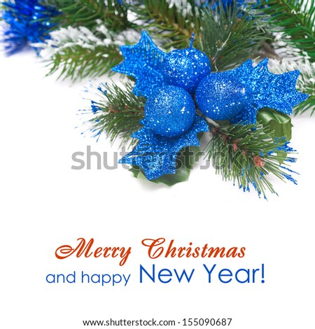 Christmas composition with decorations and fir branches, isolated on white