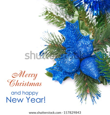 Christmas composition with decorations and fir branches isolated on white background