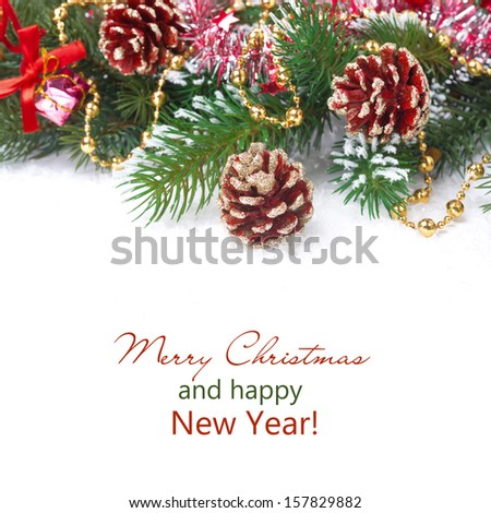 Christmas composition with fir branches, pine cones and decorations, isolated on white - stock photo