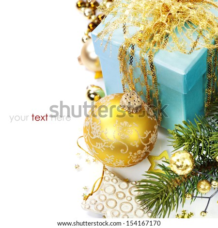 Christmas composition with gift box and decorations  (with easy removable sample text)