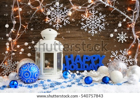 "Christmas composition with lantern and the inscription ""Happy Holidays"" on wooden background #540757843"