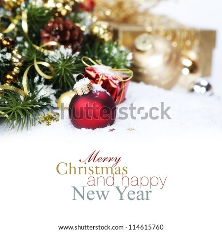 Christmas composition with snow and Christmas decoration (with sample text)