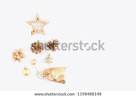 Christmas composition. Xmas golden decorations on white background. Flat lay, top view, copy space #1198488148